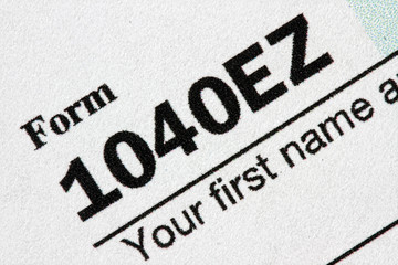 Extreme close up of a U.S. Tax Form 1040EZ.