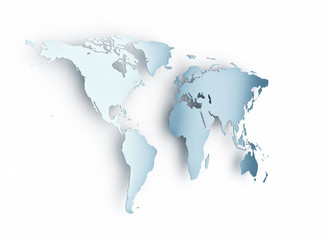 World map blue on white background