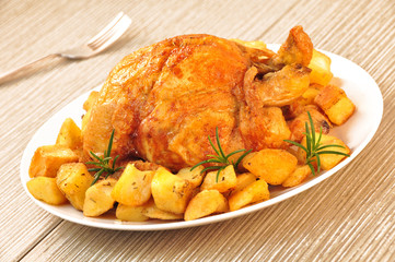roast chicken with potatoes
