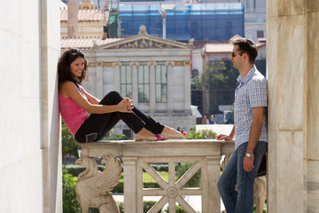 Couple do sightseeing in Athens