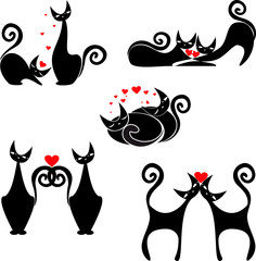 Papiers peints Rouge, noir, blanc set of stylized figures of cats