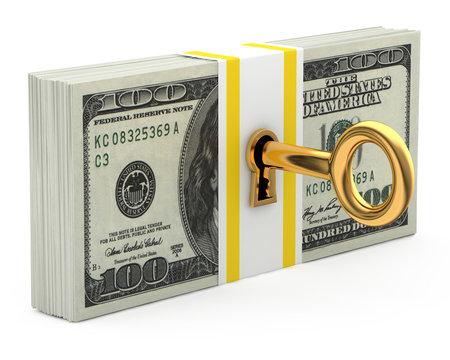 Key and money isolated on white background