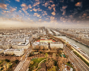 Fototapete - Wonderful aerial view of Paris from the top of Eiffel Tower - Wi