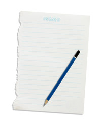 Note paper and pencil on a white background.