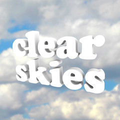 Clear Skys Word Open Blue Sky Clouds
