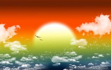 Poster de jardin Oiseaux, Abeilles Fantasy Sunset