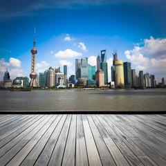 Aluminium Prints Shanghai shanghai skyline with wooden floor
