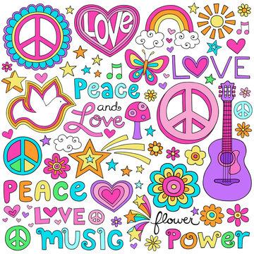 Peace Love Music Groovy Notebook Doodles Vector Set