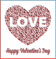 Love Heart Valentine's Day Card with 3D Effect