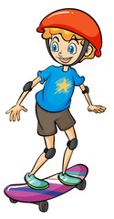 A boy playing skateboard