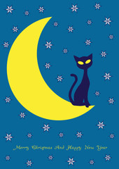 Printed roller blinds Heaven vector background with cat on the moon