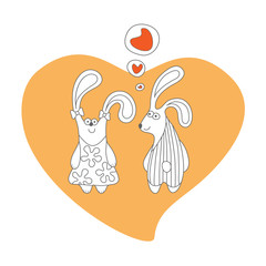 Cartoon rabbits in love