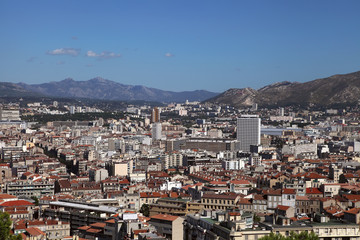 View of Marseille on the background of the hill, France