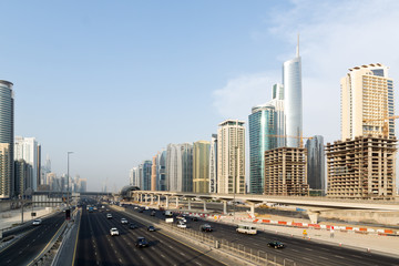 Dubai Sheikh Zayed Road with Skyscrapers