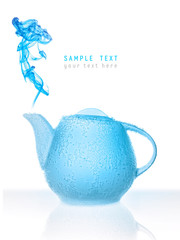 Conceptual blue teapot in bubbles