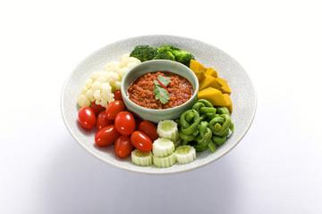 Spicy Chili Paste (Nam Prik) with vegetables, thai cuisine