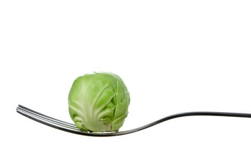 brussel sprout on a fork