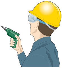 Man with a drill and hardhat, builder, DIY