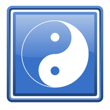 ying yang blue glossy square web icon isolated