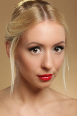 Portrait of young beautiful woman caucasian