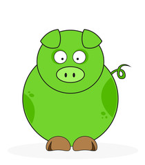 Funny Green pig isolated on white.