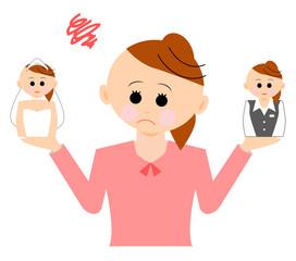 結婚か仕事に悩む女性