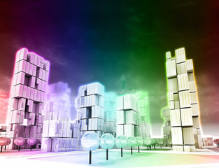 Dimensional skyscraper city as rainbow colored wallpaper