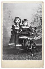 vintage nostalgic portrait of two kids