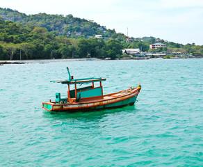 Wooden fishing boat on sea