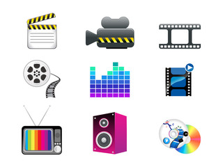 abstract media icon set