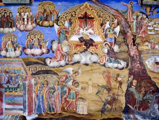 Bible scene mural painting from Rila Monastery in Bulgaria.