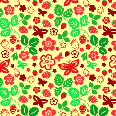 Strawberry leaves and butterflies seamless pattern, vector