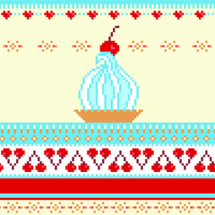 Poster Pixel Seamless border illustration with cake and cherries