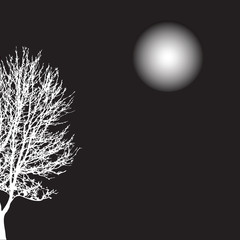 white silhouette of a tree .Vector illustration
