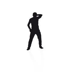 black silhouette of a man dancing