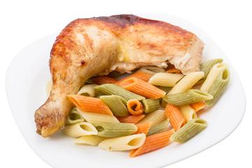 Chicken leg with penne pasta