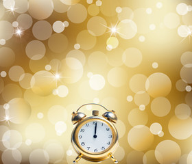A Happy New Year Clock Striking Midnight abstract Lights
