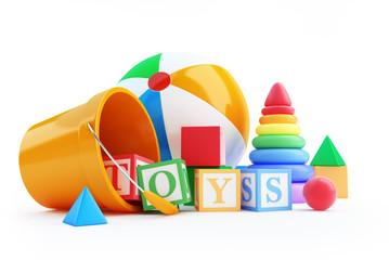 toys alphabet cube, beach ball, pyramid