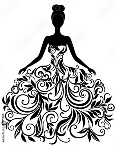 Vector silhouette of young woman in dress immagini e for Scarica clipart
