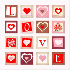 illustration of decorative hearts and letters LOVE