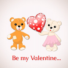 Foto auf AluDibond Baren Valentine greeting card with two teddy bears and red dotted hear