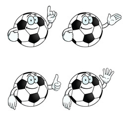 Collection of smiling cartoon footballs with various gestures.