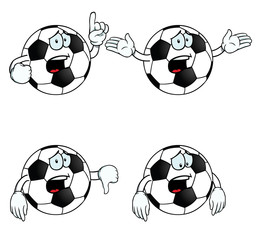Collection of crying cartoon footballs with various gestures.