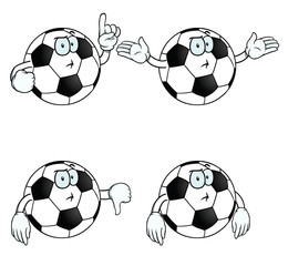 Collection of thinking cartoon footballs with various gestures.