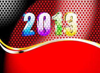Colorful new year on steel plate background