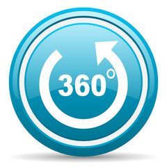 360 degrees panorama blue glossy icon on white background