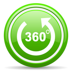 360 degrees panorama green glossy icon on white background