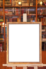 simple picture frame on easel with clipping path