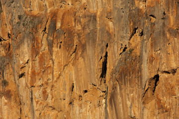 orange rock wall in the moroccan atlas mountains of the riff