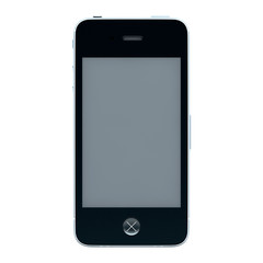 Black smartphone isolated on white background